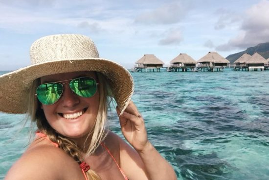 Shannon Skloss on the beach of Positano Italy