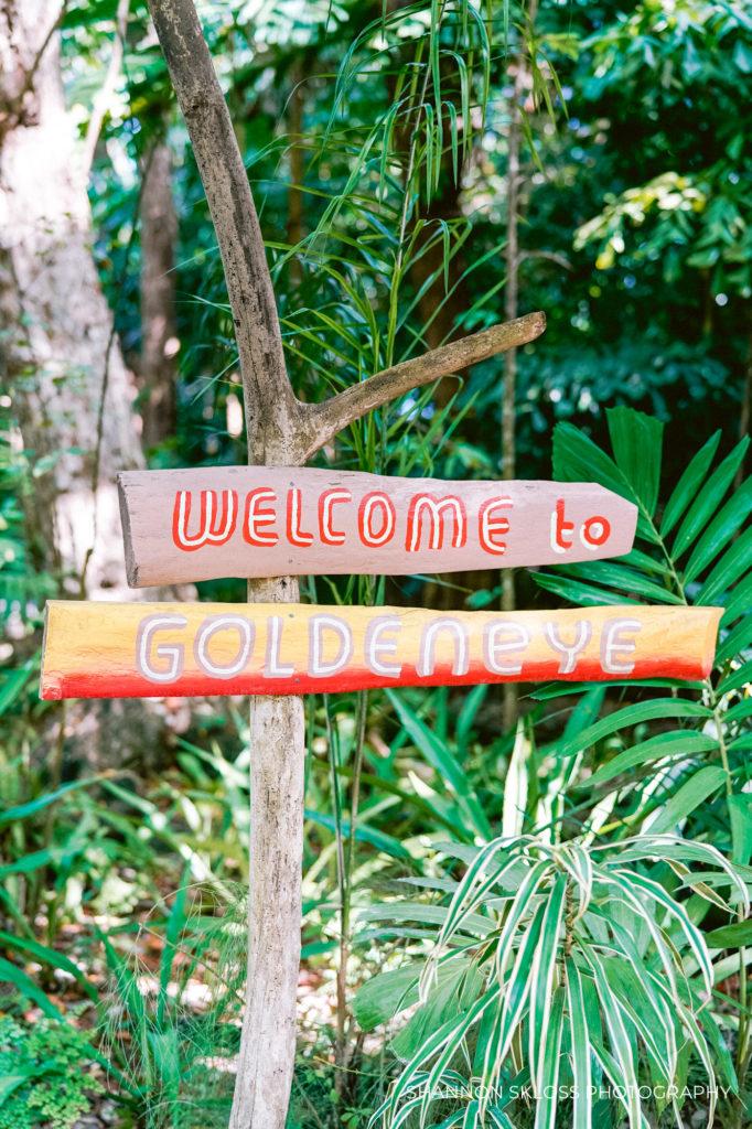 Welcome sign at Goldeneye Resort