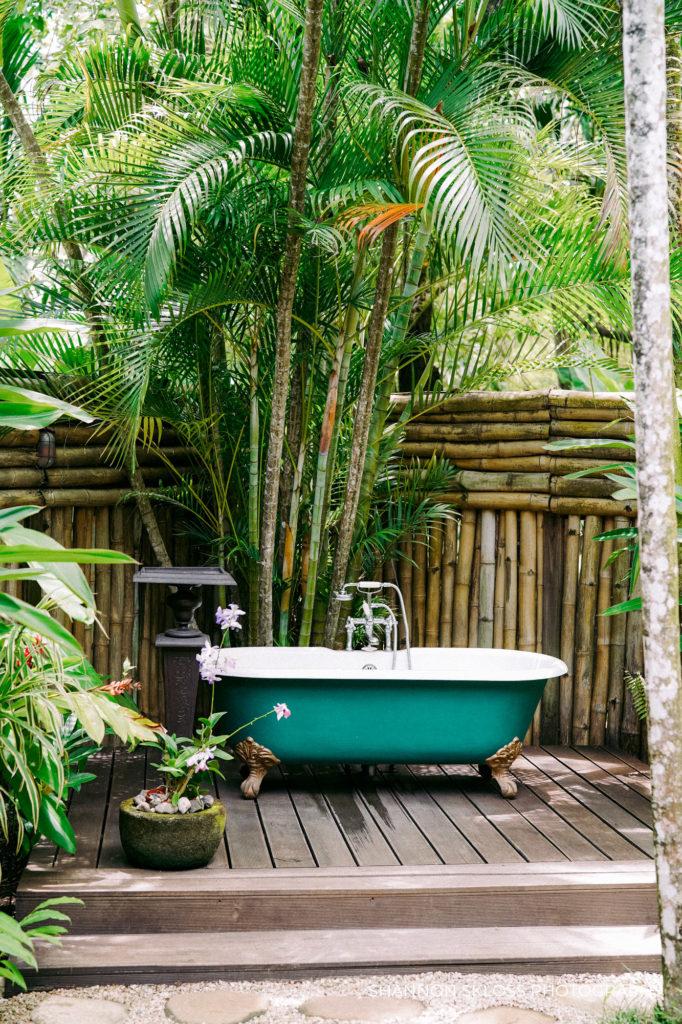 outdoor shower at Goldeneye resort